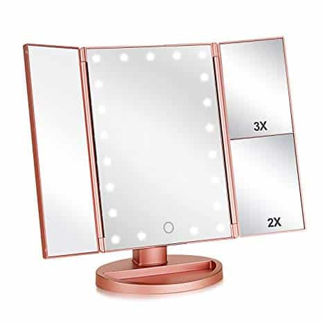 Vanity Make-Up Mirror Tri-Fold with 21 LED Lights (Rose Gold)