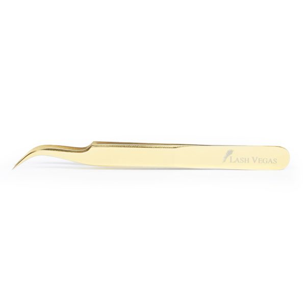 Curved Isolation Tweezers (12cm) - Gold