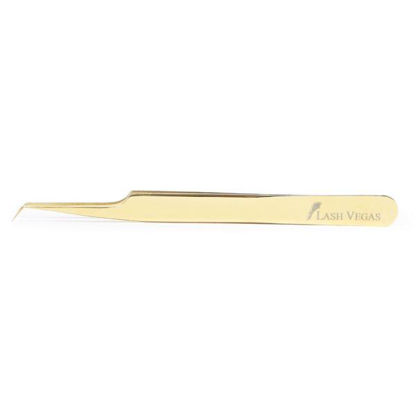 45° Angle Curved-Tip Tweezers (12cm with 5mm tip) - Gold